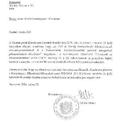 Orban Viktor 2014 majus 23 an soron kivuli kormanyzati ellenorzest rendelt el a Norveg Civil Tamogatasi Alap ellen