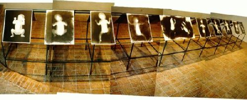 1996 black and white photograms 60x50 cm each twins 60x100cm iron installation 150x150x700 cm